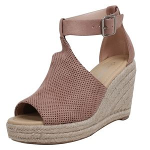 Shoes - Mauve Perforated Ankle Strap Espadrille Wedge